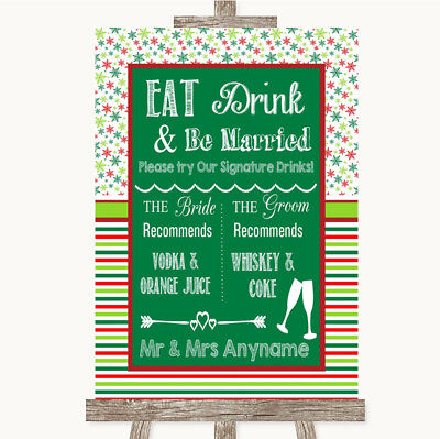 Wedding Sign Poster Print Red & Green Winter Signature Favourite Drinks • 8.29$