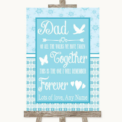 Wedding Sign Poster Print Winter Blue Dad Walk Down The Aisle • 8.29$