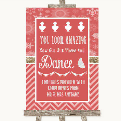 Wedding Sign Poster Print Red Winter Toiletries Comfort Basket • 8.29$