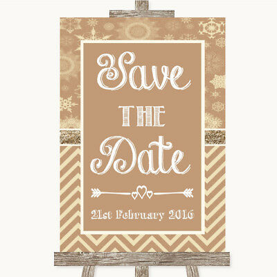 Wedding Sign Poster Print Brown Winter Save The Date • 8.29$