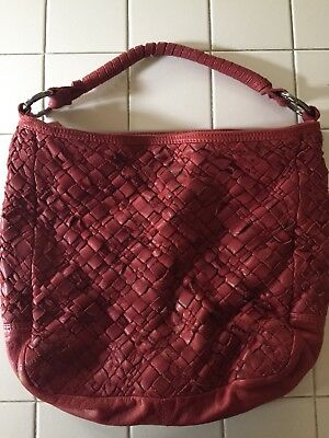 faa9a9089527 Tano Woven Oxblood Red Leather Hobo Tote Purse Unique Textured • 46.99
