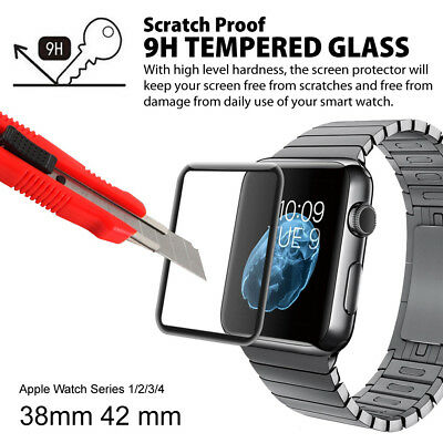 AU6.99 • Buy Apple Watch 4 3 2 6D FULL GLUE 9H Tempered Glass Screen Protector 44 40 38 42mm