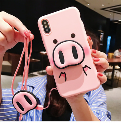 AU7.22 • Buy Cute Pig Airbag Stand Holder Strap Case Cover For IPhone XS Max XR 6S 7 8 Plus