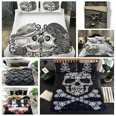 Skull Duvet Cover With Pillowcase Polyester Bedding Set Single Double King & S K • 31.94£