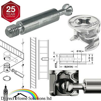 HAFELE MINIFIX 15mm CAM LOCK BOLTS & FIXING DOWELS FURNITURE FLAT PACK FITTING • 4.28£