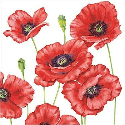 5 Paper Party Napkins Romantic Poppy Pack Of 5 3 Ply Tissue Serviettes Poppies • 2.50£