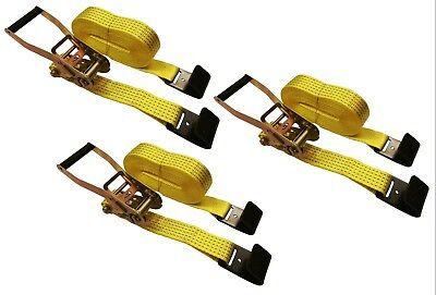 $51.99 • Buy 3 Pc 2  Inch X 27' Flat Hook 10,000 Lb Ratchet Straps Heavy Duty Flatbed Trailer