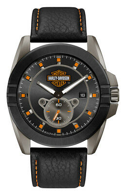 Harley-Davidson Men's Gray-Tone Stainless Steel & Leather Watch 78B182 • 200.30£