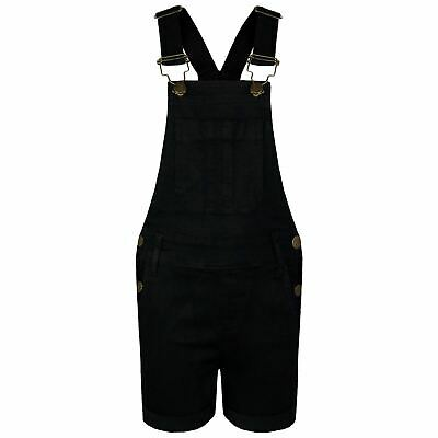 Kids Girls Dungaree Shorts Black Denim Stretch Jumpsuit Playsuits Age 5-13 Years • 14.99£