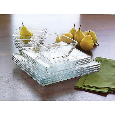 $37.37 • Buy 12 Piece Square Dinnerware Glass Clear Dishes Salad Plate Bowl Kitchen Set For 4