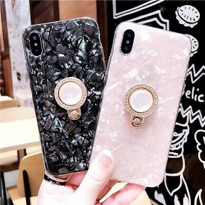 AU8.99 • Buy Luxury Bling Glitter Marble Rhinestone Ring Stand Holder Soft Cell Phone Case