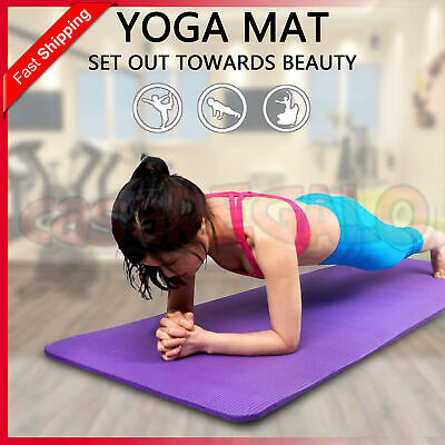 AU24.95 • Buy Thick Yoga Mat Pad Nonslip Exercise Fitness Pilate Gym NBR 10mm 15mm