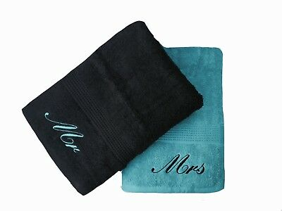 £22.99 • Buy Embroidered Mr & Mrs Teal And Black Bath Towels Pair