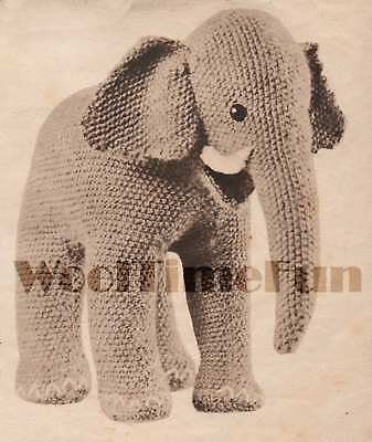 Knitting Pattern Cute Little Toy Elephant. Vintage 1940s Make From Oddments • 1.70£
