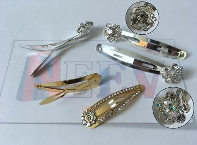 4 Crystal Diamante Metal Bendies Sleepies Hair Snap Clips Grip Slides For Girls • 3.48£
