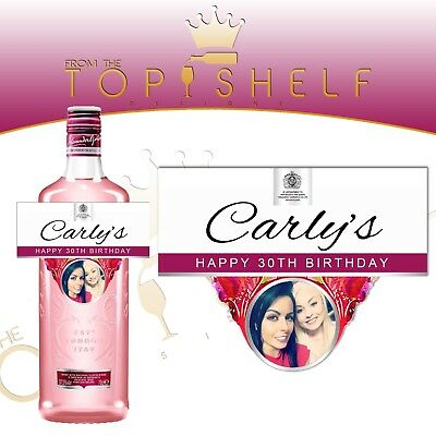 Personalised Gordon's London Pink Gin Photo Bottle Label Any Occasion • 3£