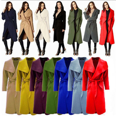 Women Italian Long Duster Jacket Ladies French Belted Trench Waterfall Coat 8-20 • 14.99£