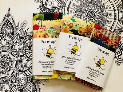 AU11.95 • Buy Organic Beeswax Food Wraps PACK OF THREE!  PLUS FREE WRAPlarge/Medium/small