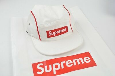 $ CDN110.51 • Buy SUPREME PIPING CAMP CAP HAT White Red FW18 BOGO