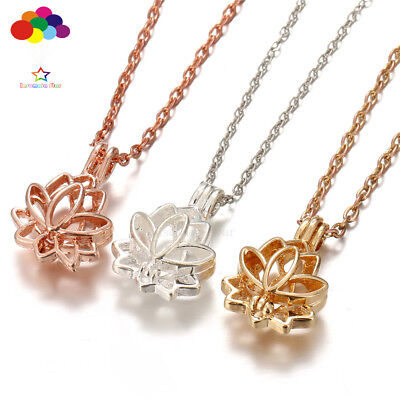 AU2.66 • Buy Newest Aroma Diffuser Lotus Necklace Lockets Perfume Essential Oil Aromatherapy