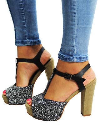 £5 • Buy Womens High Heel Wedge Ankle Strap Platform Open Toe Sandals Party Shoes Ladies