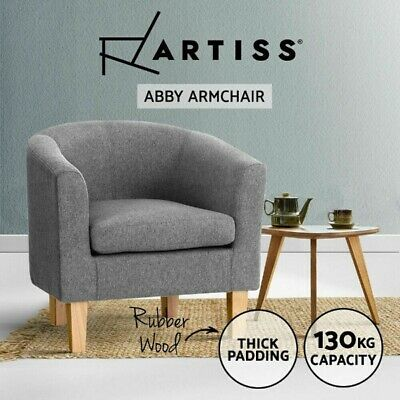 AU134.90 • Buy Artiss Armchair Lounge Chair Tub Accent Armchairs Fabric Sofa Chairs Wooden Grey