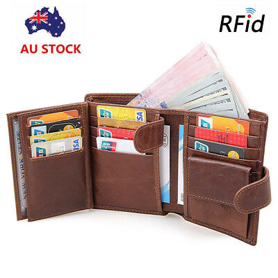 AU36.99 • Buy Large Capacity Genuine Leather Mens Trifold Wallet RFID Blocking Anti Scan Zip