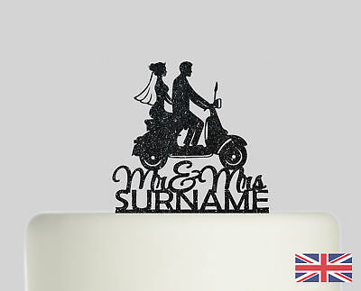 Scooter Vespa Personalised Cake Topper Acrylic Glitter Cake Decoration 554 • 12.99£