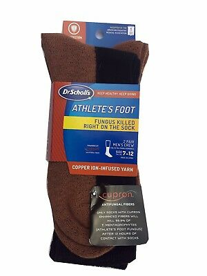 Dr. Scholl's MEN'S Crew Socks 2-Pack   Athlete's Foot & Copper-Ion Infused Yarn  • 7.71£