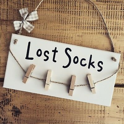 £8.49 • Buy New Home Gifts Sign Plaque Lost Socks Present Hanging Laundry Pegs Kitchen Door