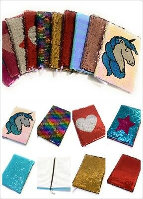 Kids A5 Reversible Sequin Notebook Childrens Notepad Writing Journal Diary Book • 4.99£