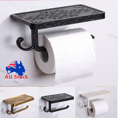 AU23.17 • Buy Wall Mounted Toilet Roll Tissue Holder Stand Bath Paper Holder Phone Shelf Decor