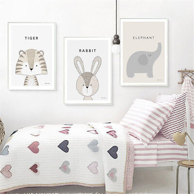 £2.52 • Buy Animal Tiger Rabbit Canvas Poster Prints Nursery Pictures Baby Room Decoration