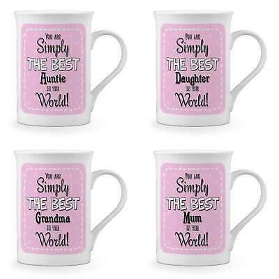 You Are Simply The Best In The World Novelty Fine Bone China Mug - Pink Titles • 9.99£