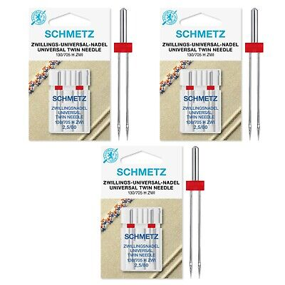 Schmetz Sewing Machine Needles - Twin, 3 Packs Of 2, SPECIAL OFFER/BULK DISCOUNT • 12£