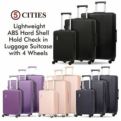 5 Cities 4 Wheel Hard Shell Hand Cabin & Hold Check In Luggage Suitcase & Sets • 26.99£
