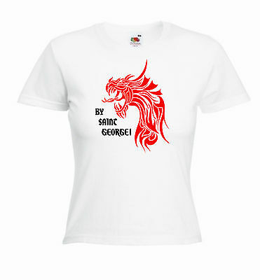 £9.99 • Buy 'By Saint George' St. George's / Georges Day Ladies Girls Funny T-shirt Tee