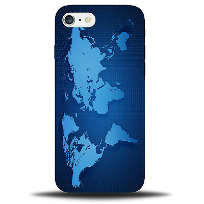 Blue World Map Picture Phone Case Cover | Electric Blue Light Spy Design B611 • 9.99£