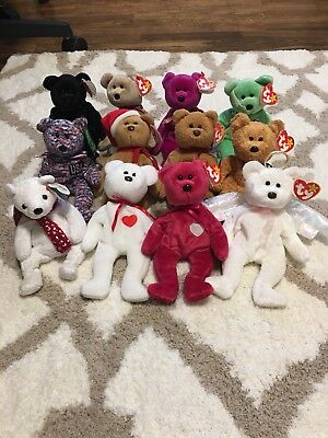 $158.88 • Buy Beabie Baby Bear Lot Of 17!! All Mint! Curly, Fuzz, Usa, Halo, Princess, Peace++
