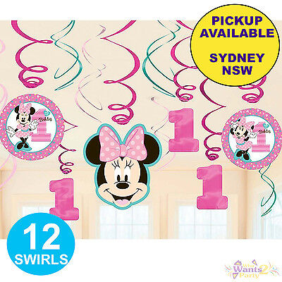 AU9.95 • Buy Minnie Mouse 1st Birthday Party Supplies 12 Swirl Hanging Foil Decorations