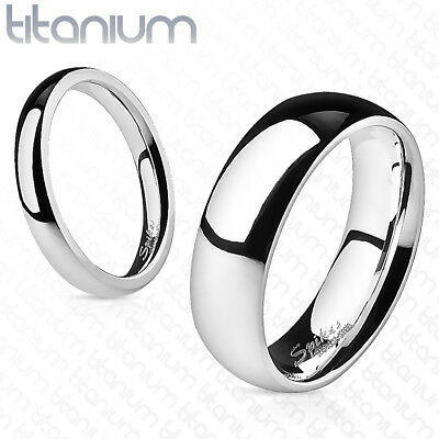 Mens TITANIUM Polished Wedding Ring Couple Band Civil Ceremony Silver New (1M) • 7.99£