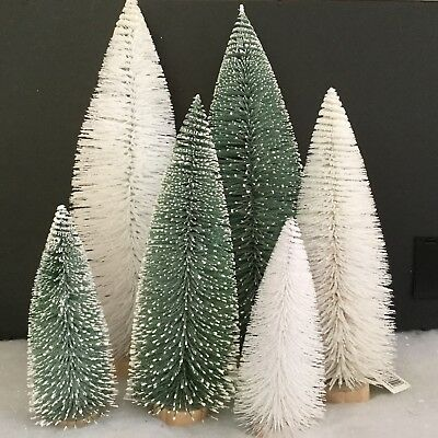 Bristle Fir Tree Decorations Table Top Christmas Scene Green White Glitter Wire • 9.89£