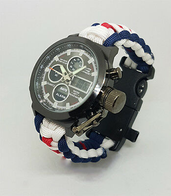 Paracord Watch In The Women's Royal Naval Service (WRNS) Colours 4 The Strap • 46.99£