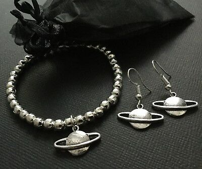 Bijoux SILVER ORB Stretch Beaded Bracelet And FREE Earrings Orb Jewellery • 3.50£