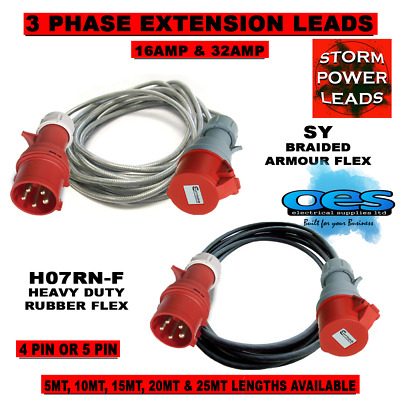 3 Phase 16amp-32amp 415volt Extension Leads 4 Pin-5 Pin Hook Up Lead Heavy Duty • 136£