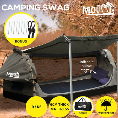 AU269.99 • Buy Mountview Double King Single Swag Camping Swags Canvas Dome Tent Standing Grey