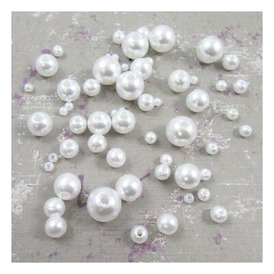 £1.49 • Buy WHITE Or CREAM ACRYLIC PEARL BEADS  3mm - 12mm *6 SIZES* BEADING WEDDING CRAFTS