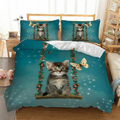£28.99 • Buy 3D Cat Duvet Cover With Pillowcases Bedding Set Animal Single Double King Sizes