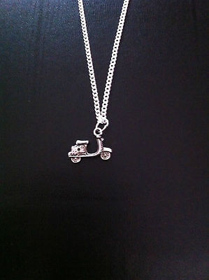 £2.89 • Buy Silver Vespa Moped Scooter Charm Necklace Pendant 18  Chain Free Gift Bag Uk