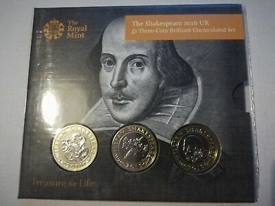 2016 Shakespeare Two Pound Coin £2 Presentation Pack, Three Coins,  BU Unopened • 39.95£
